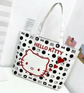 Hello Kitty White Canvas Purse With Shoulder Strap And Zipper