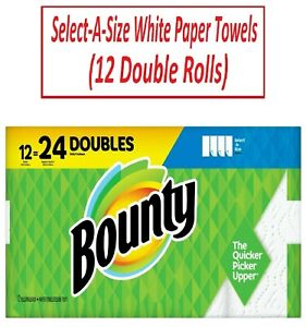 BOUNTY PAPER TOWELS Select A Size White Paper Towels 12 Double Rolls $34.88