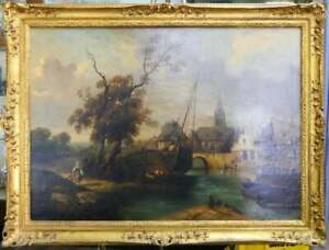 Antique Painting Continental Landscape Oil Painting Large Townscape 1800s $2975.65