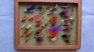 Lot of 34 Used Fishing Lures 1 2quot; 2quot; Long in a Wooden Box