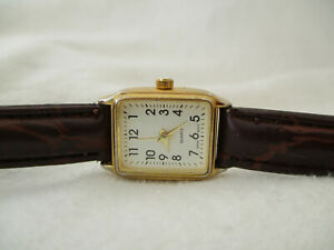Classic Womens Rectangle Watch White Dial Brown Buckle Band $28.00
