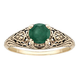 10k Yellow Gold Vintage Style Genuine Round Emerald Scroll Ring $149.99