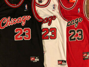 #23 ROOKIE Michael Jordan 1984 Chicago Bulls Sewn Men#x27;s Red White Black Jersey