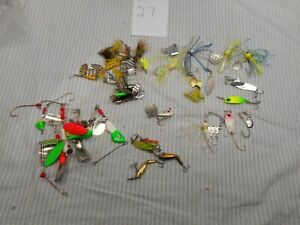 35 Vintage Lures erie dearie mann#x27;s rooster tails and others LOT #27