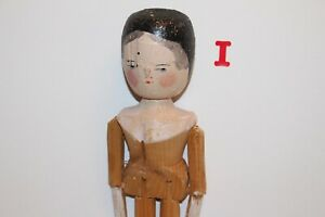 Vintage Antique Wooden Peg Doll Dutch Doll Hand Painted amp; Carved German Doll 11quot; $55.00