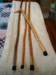 NATURAL Handmade WOODEN WOOD Folkart CANES WALKING STICKS lot of 4 $25.00