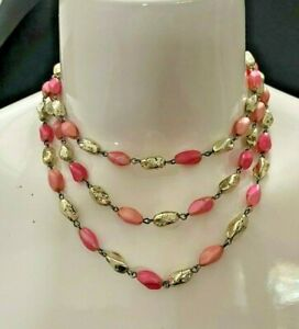 Vintage Metal Faceted Bead Triple Strand Necklace Pink Silver $5.00