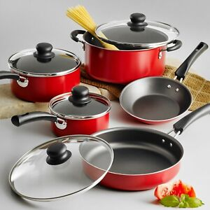 Cookware Set 9 Piece Pots And Pans Kitchen Non Stick Cooking Stainless 2 Colors $29.75