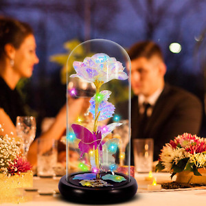Crystal Colorful Flowers Forever Rose LED Valentine Wedding Anniversary Decors $41.75