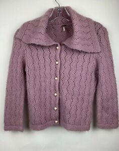 Free People Pink Wool Blend Cardigan Pearl Buttons Size Medium $11.00