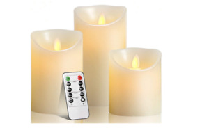 LED Candles Flameless Real Wax Pillar Remote Control Realistic Candle Set 3 Pack
