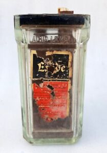 Antique Old Rare Exide Lead Acid Glass Battery Jar Box Container Made In Britain