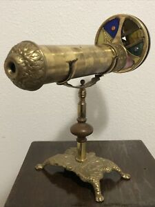 Vintage Brass Kaleidoscope Double Disc 11quot; Antique Color 2 Wheel Art