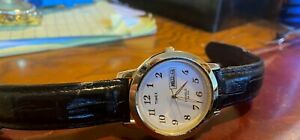 Men#x27;s 37mm Timex Watch Gold Tone with Black Leather Band Day Date Indiglo WR