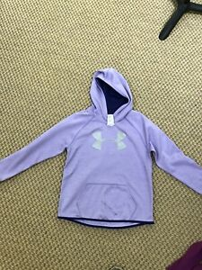Purple Under Armour Girl's Hoodie Sweatshirt YLG With Silver Logo $19.00