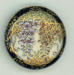Antique Button Blue Satsuma Wisteria lots of flower border low round shank 15 16