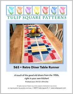 Retro Diner Table Runner Quilted Sewing Pattern by Tulip Square Studio $7.95