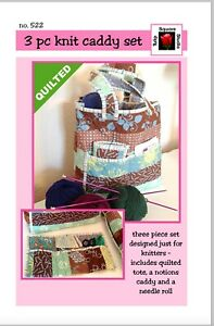 Quilted Knitters Tote Caddy Quilted Sewing Pattern by Tulip Square Studio $7.95