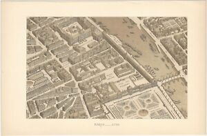 18th Century Paris Architecture Three 19th Century French Lithograph Prints $11.99