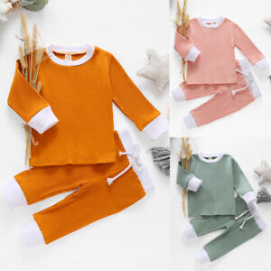 2PCS Toddler Baby Girls Boys Solid Long Sleeve Tops T Shirt Pants Tracksuit Set $14.99
