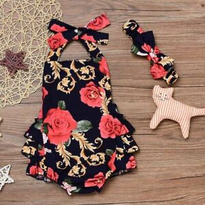 Newborn Baby Girls Clothes Floral Ruffle Romper Jumpsuit Dress amp; Headband Suit $8.07