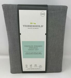 Threshold Vintage Washed Percale Sheet Set Hot Coffee Chambray Queen Size B $28.98