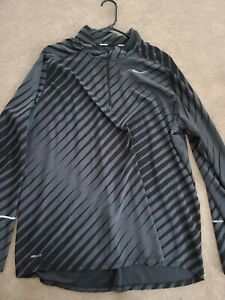 Nike Running Dri Fit 1 4 Zip Black Zebra Pullover Sweatshirt Lightweight XXL $17.99