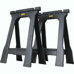 Folding Sawhorse 2 Pack 22 in. Durable Plastic Stand Holder Tool