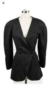 VTG Claude Montana Black Cotton Women#x27;s Designer Long Sleeve V Neck Jacket Sz 4