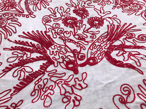 VTG Embroidered Table Runner 56quot;x24quot; Red Work Cotton Upcycle Bird Handmade