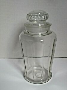 Antique Apothecary Candy Jar with Ground Stopper Paneled Sides 11 1 2quot; tall $35.00