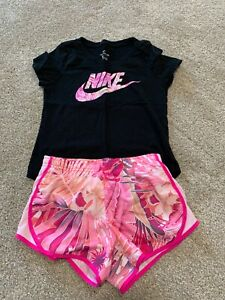 NIKE Girls Outfit Black Shirt Pink Floral Shirt Size Small Medium $14.99