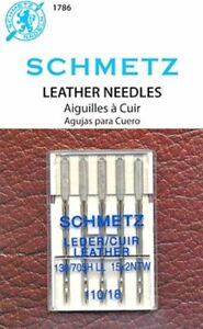 5 PACK SCHMETZ LEATHER SEWING MACHINE NEEDLES SIZE 18 110 Part# S 1786 $6.25