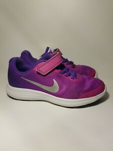 Nike Girls Revolution 3 Purple Pink Hook Loop Athletic Training Shoes Size 1Y $15.00