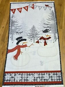 Snowy Wishes Singing Snowmen quilters sewing cotton Fabric Panel $8.49