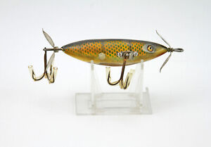 Vintage Antique HEDDON Wood Glass Eyed SOS Wounded Minnow Fishing Fish Bait Lure