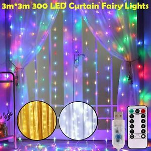 300 LED Curtain Fairy Hanging String Lights Christmas Wedding Party Home Decor $13.71