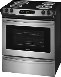 Frigidaire30 Inch Stainless Slide In Electric Range with Store More FFES3016TS