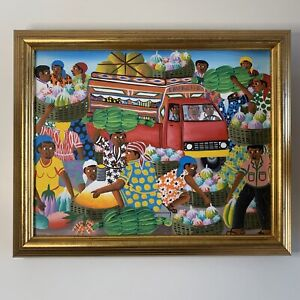 "Haitian Edgard Lavache Oil Painting Framed Modern Art 9.5"" X 8"" $79.99"