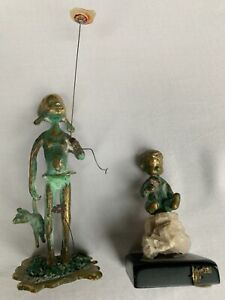 2 Malcolm Moran bronze sculptures Girl with teddy and Boy with flower signed $109.00