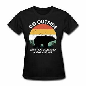 Go Outside Funny Camping Women#x27;s T Shirt