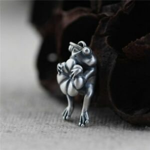 925 Sterling Silver Frog Lotus Leaf Pendant Necklace Fashion Fine Jewelry Gift