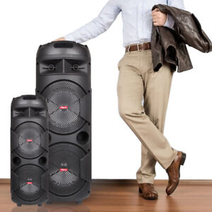 Portable Party Bluetooth PA Loudspeaker Dual Subwoofer With Microphone Remote $79.99