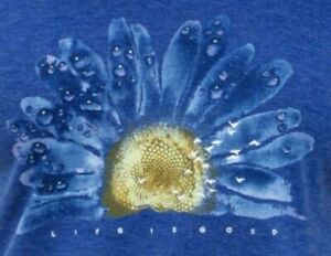 NWT Women#x27;s Life Is Good Watercolor Daisy Blue SS Lightweight Cool Vee