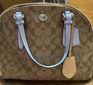 """Coach Purse. New Without Tags. Brown With Blue Trim. 15""""x9"""""""