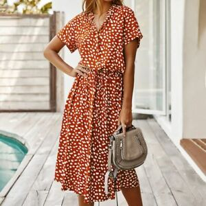 Womens Buttonfront Shirt collar Sleeve Boho Casual Loose Swing Floral Long Dress $16.99