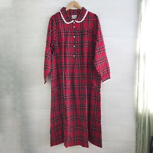 NWT Lanz of Salzburg Red plaid flannel night gown peter pan collar L $72.50