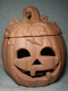 Pumpkin Halloween Fall Decoration Terra Cotta Jack o Lantern Luminarias Clay 9quot;