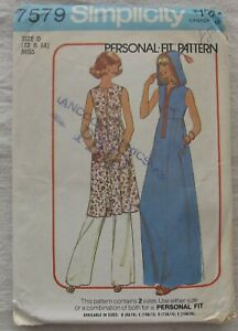 Vintage Sewing Pattern*Simplicity 7579*Size 12 14*CUT*hooded caftan*dress*70s $19.80