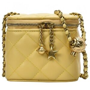 Women#x27;s Quilted Box Bag Leather Mini Square Star Chain Zipper Crossbody Bags $25.97